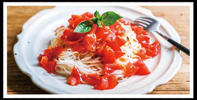 ミニトマトの冷製パスタ